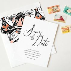 Classic and simple, the Simplicity save the date sets the stage for a beautiful, understated wedding. Add pattern and color by introducing one of