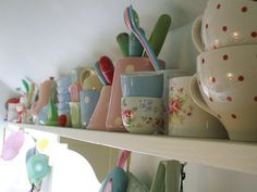 #kitchen shelf filled with #cathkidston etc. #crockery