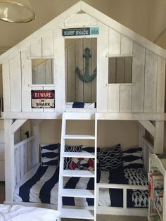 Ana White Bunk Bed Design Ideas For Kids Bedroom Bunk Beds Boys, Adult Bunk Beds, Bunk Bed Plans, Bunk Beds With Stairs, Cool Bunk Beds, Loft Beds, Bunk Bed Fort, Boys Bunk Bed Room Ideas, Playhouse Loft Bed