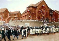 Défilé du14 juillet 1897, passage du général Gallieni, Andohalo, Antananarivo
