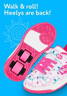 Heelys are back! It's a shoe, it's a skate—it's both! These innovative shoes have removable wheels hidden in the heels for a seamless transition from walking to skating! https://www.mastermindtoys.com/brands/309-Heelys.aspx?sortOrder=10