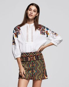 #Valentino Floral-Embroidered Cotton Blouse, White