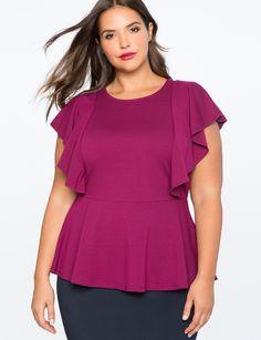 Flutter Sleeve Peplum Top   Women's Plus Size Tops   ELOQUII