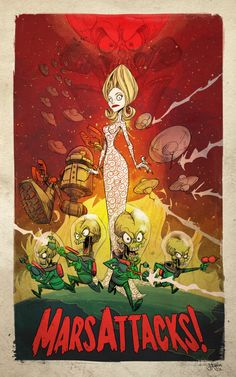 I don't recall Mars Attacks being as much fun as this poster's style suggests. I mostly remember it being a late 90's odd sorta movie. Not too surprising though given its a Tim Burton film :)  PLANET-PULP // CELEBRATING PULP CULTURE: Mars Attacks
