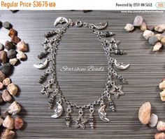 ON SALE Hematite Moon Star Anklet by StarshineBeads on Etsy  #anklets #summerjewelry #jewelry #moon #stars #celestial #silverjewelry #hematite #giftsforher #gifts #giftideas #moonandstars