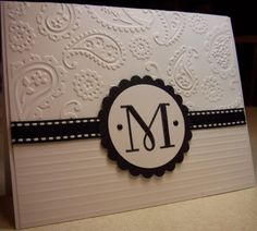 Monogrammed Note Card with Paisley embossing folder