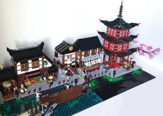 Just a positioning try with the Pagoda of Airjitzu, to imagine a possible skyline. Final position will be different for sure, since I expect to include a couple of baseplates more. Lego Sets, Lego Ninjago City, Lego Factory, Lego Village, Chinese Theme, Lego Display, Amazing Lego Creations, Lego Building Blocks, Lego Modular
