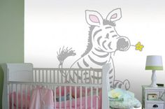 Fotobehang Sitting Zebra in Light Grey