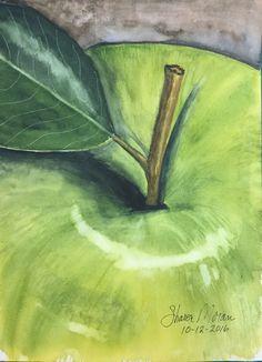 """Green Apple"", 9""x12"", original watercolor by Sharon Moran"