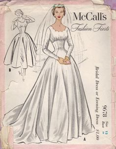 McCall's 9678 - vintage wedding dress pattern from 1954 - Empire Waist Scalloped Neck - from my shop PinPoint Patterns on ArtFire - SOLD July 20 2013
