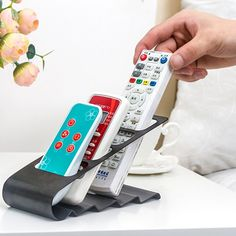 TV Remote Control Storage OrganizerThe Curved Design Keeps All 4 Slots  Arranged So That The Remotes