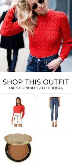 #winter #fashion /  Red Knit   Navy Jeans