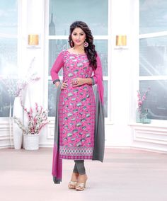 Hina Khan Pink Cambric Cotton Churidar Suit 70262