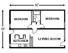 Single Side Two Bedroom Plan Google Search Unit Plans