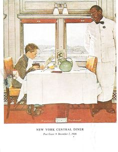 USA - New York Central Diner   Post Cover Norman Rockwell   December 6 1946