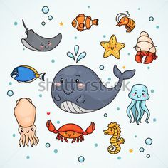 Sticker with Sea Animals Illustration with sea animals: s… - Stingray Fish Sea Animals Drawings, Cartoon Drawings, Cool Drawings, Cartoon Sea Animals, Animals Sea, Water Animals, Starfish Drawing, Squid Drawing, Crab Cartoon