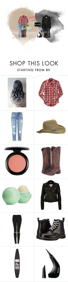 """Country Versus Emo"" by twistedpaw on Polyvore featuring Aéropostale, Miss Selfridge, Turtle Fur, MAC Cosmetics, Roper, Eos, River Island, Topshop, Dr. Martens and Maybelline"