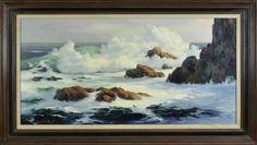 My great uncle, artist, Marshall Merritt (1904-1978) Seascape Painting