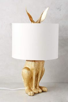 Gilded Hare Table Lamp by Anthropologie in White, Lighting Slide View: Gilded Hare Table Lamp Unique Lamps, Unique Lighting, Lighting Ideas, Creative Lamps, Vintage Lighting, Lighting Design, Bedroom Lamps, Bedroom Table, Gold Bedroom