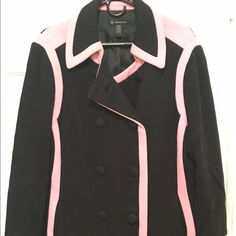 Black and pink pea coat Preloved super cute black pea coat with pink details. You'll stand out in this jacket! Size XL. INC International Concepts Jackets & Coats Pea Coats