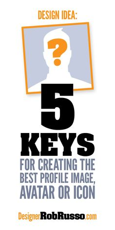 #Design Idea: 5 Keys for Creating the #Best #Profile Image, Avatar or Icon // http://designerrobrusso.com/design-idea-5keys-for-creating-the-best-profile-image-avatar-or-icon/ --> Call it an avatar, a profile image or whatever. It might be the first image a (prospective) client sees so you want it to be eye-catching at first glance. Then, it should be easy to process and memorable so it sticks. Follow the link for 5 tips to create the best profile image.