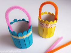 Colorful Easter Basket craft made using wood sticks and cardboard tube. Recycled craft idea. Super quick and easy Easter craft for preschoolers and kindergarten.