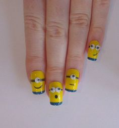Minion Fake Nails Designs