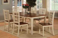 7 PC DINETTE KITCHEN DINING ROOM TABLE SET AND 6 CHAIRS WITH WOOD SEAT WHITE  #EastWestFurniture #Contemporary