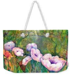 Poppy Flowers Weekender Tote Bag featuring the painting White Poppy Flowers at the Pond by Sabina Von Arx Weekender Tote, Tote Bag, Green Bathroom Decor, Poppy Flowers, Creative Colour, Colour Images, Bag Sale, Color Show, Pond