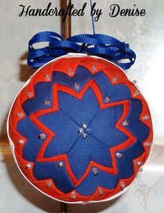 Grandmothers Quit ~ Dark Blue and Bold Orange  ~ Quilt looking fabric ornaments made by Handcrafted by Denise