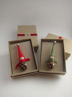 Elf Pin Brooch - Stocking Stuffer - Teacher Gift - Secret Santa - Co Worker Gift - Hostess Gift - Tiny Pinecone