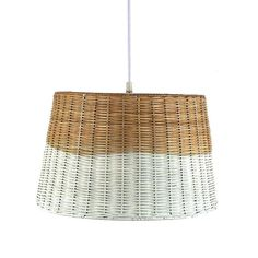 white-washed wicker pendant. i could make this!