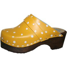 Yellow with White Polka Dots, Snap Strap with your choice of Strap, Tessa Clog