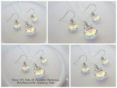 Four Sets of Swarovski Crystal Aurora Borealis Bridal Party Jewelry by EllenBKeepsakes, $145.00