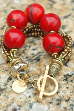 Luscious Bracelet: Stunning Bold and Luscious Red Coral, Gold and Bronze Bracelet