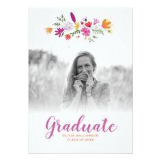 Pretty Chic Floral Graduate Photo Graduation Party Card - graduation party invitations card cards cyo grad celebration