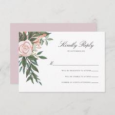 Bohemian Floral Frame Elegant Light Mauve Wedding RSVP Card Classic Wedding Invitations, Wedding Rsvp, Mauve Wedding, Response Cards, Zazzle Invitations, Bohemian, Place Card Holders, Elegant, Frame