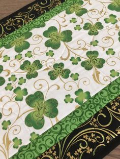 St. Patricks Shamrock Quilted Table Runner  by countrysewing4U
