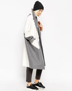 ASOS White oversize color block coat