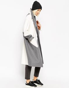 Image 4 of ASOS WHITE Color Block Ovoid Coat in Heavy Wool