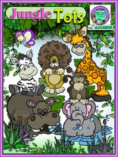 Cute Jungle animals clipart ready to be adopted.  All are hand drawn & created by  rz aLEXANDER, eMBELLISH yOURSELF  aRTWORKS!   https://www.teacherspayteachers.com/Store/Rz-Alexander