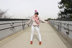 Winter White // stripe sweater, white jeans, colorful accessories #ThriftStyleThursday | Delightfully Kristi