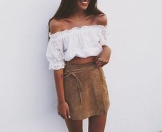 Brown Suede Skirt with Matching Drawstring paired with White Billow Crop Top…