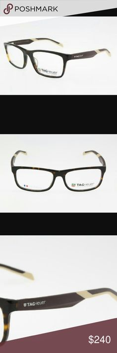 TagHeuer glasses Known for their very expensive high quality watches, Tagheuer also make beautiful extremely durable and lightweight glasses. And as well as  being conventional they are very fashionable with a brown and cream plastic and elastimer frame and smaller rectangular lenses. It feels like your not wearing anything but you look soooook good wearing them. Great for any skin or hair come and can be a unisex frame. Great for a man or woman. Brand new. Never worm comes with case…