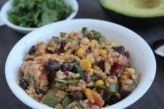 Healthy Mexican Bake #food #dish #recipe #dinner #easy #rice #tomato #blackbean #corn #cilantro #avocado #chicken #health #cheese #cheddar