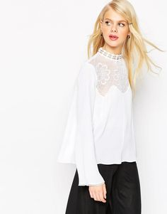 ASOS+Ultimate+Embroidered+High+Neck+Blouse