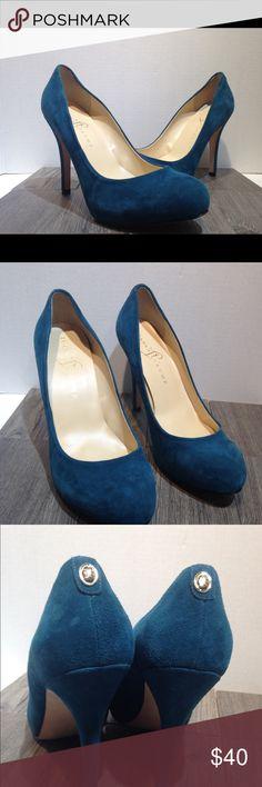 ivanka trump teal blue suede heels size 8.5 ivanka trump teal blue suede heels size 8.5 M heel is 5 inches tall Ivanka Trump Shoes Heels