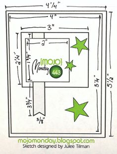 Mojo Card Sketches with Measurements Scrapbook Sketches, Card Sketches, Scrapbook Cards, Card Making Templates, Layout Template, Bullet Journal, Scrapbooking, Fathers Day Cards, Card Patterns