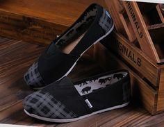 Cheap Toms Black striped shoes sale