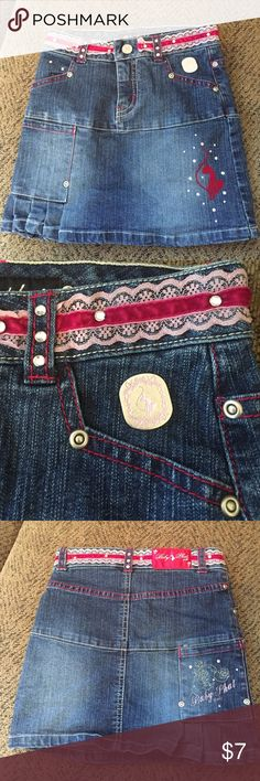 💜size 5 Baby Phat Jean skirt Adorable and stylish Baby Phat Jean skirt.  Size 5.  EUC. Baby Phat Bottoms Skirts